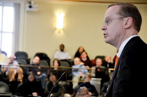 Syracuse University Chancellor Kent Syverud acknowledged that there was a delay in the university's response to condemn President Donald Trump's executive order on travel ban during University Senate meeting.