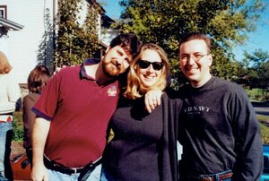 Andrew Gross, Linda Epstein and Jim Carty pose on the front lawn of 744 Ostrom Ave. for the first D.O. Palooza. The event began informally in 2002 and was never intended to be held annually. However, due to the efforts of D.O. management teams, it's been held nearly every year since.